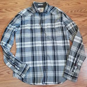 Men's Express snap front plaid shirt